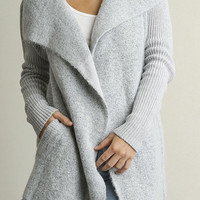 Open Front Double Breasted Knit Cardigan - Silver