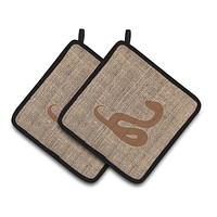 Snake Faux Burlap and Brown   Pair of Pot Holders BB1124-BL-BN-PTHD