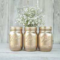 Yellow gold painted mason jars. Set of 3. Centerpiece. Guestbook pen jar. Wedding centerpiece, new years decor, party centerpiece.