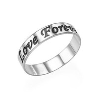 Sterling Silver 4mm Wide Engraved Ring - Rounded Script