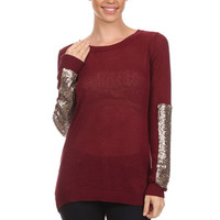 Sequin Sleeve Sweater - Burgandy