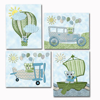 Vintage style Teddy bear nursery art baby boy room wall decor toddler decoration blue green poster old car airplane hot air balloon boat