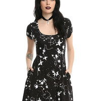 Black & White Starry Fit & Flare Dress