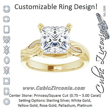 Cubic Zirconia Engagement Ring- The Fabiola (Customizable Cathedral-raised Princess/Square Cut Design featuring Rope-Braided Half-Pavé Band)
