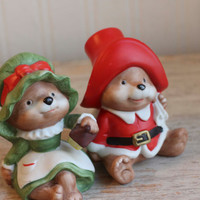 Vintage Christmas Bears, Mr and Mrs Clause Bears,  Homco Christmas, Vintage Christmas Bears,  Porcelain Figurine, Christmas Decor, Xmas