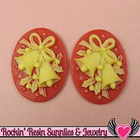 Red & Ivory CHRISTMAS BELLS Cameos 30x40mm Flatback Resin Cabochons (2 pieces)