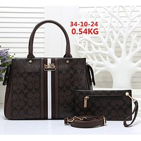 COACH Women Shopping Leather Tote Handbag Satchel Set Two Piece