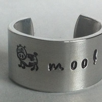 For The Country Side In You:  The Cow Moo Aluminium 1100 Ring