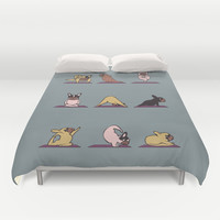 Frenchie Yoga Duvet Cover by Huebucket
