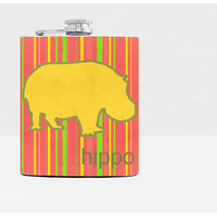 Hippo silhouette on red striped background - Liquor flask - Whiskey flask - Hip flask - 21st birthday gif t- Men flask-Gift for him