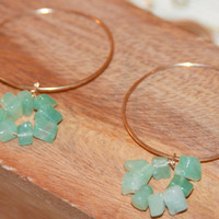 Aventurine dangle earrings, boho jewelry, Aventurine Hoop Earrings, Made in USA, Made in Vermont