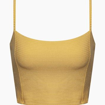 Baila Knit Crop Top - Sunray Yellow