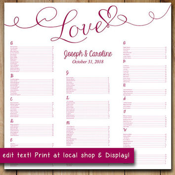 "Wedding Seating Chart Template | Sangria Wine Mulberry ""Love"" Heart Microsoft Word Template 