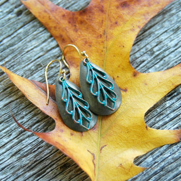 Leaf Earrings . Patina Earrings . Verdigris Earrings . Bohemian Earrings . Christmas Gifts for Women . Stocking Stuffers . Birthday Gift