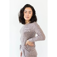 Embroidered Weekend Fleece Laced Back Pullover in Pink