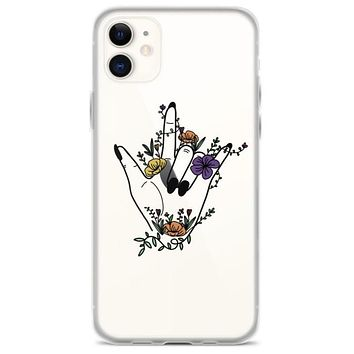 Floral Hand Line Art Clear Phone Case