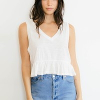 Peplum Tank Top - White