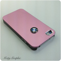 USA iPhone 4 / 4S  Case BMW Emblem Sport Car Aluminum metallic Cover  - Pink