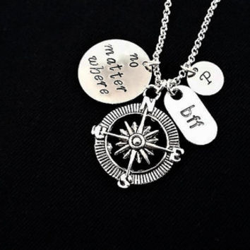 No Matter Where necklace, no matter where charm, no matter where compass, compass charm necklace, Mother Daughter, Best Friends, BFF initial