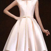 Nude Plunge Neck Bowknot Waist Lacing Back Prom Skater Dress