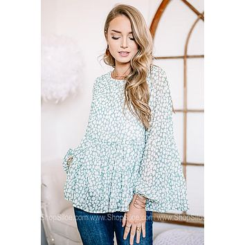 Sage The Day Balloon Sleeve Top