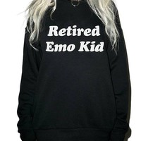 Retired Emo Kid Sweatshirt Tumblr Hipster Crewneck Aesthetic Casual Unisex Style Graphic Letter Pullover Spring Tops Jumper