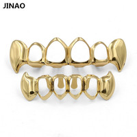 JINAO Custom Fit Pure Gold Color Plated Vampire Teeth Four Hollow Open Face Gold Mouth GRILLZ Caps Top&Bottom Hip Hop Grill Set