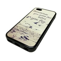 Apple Iphone 5 or 5s Case Cover Skin Set Free Birds Fly Quote Hipster Design Black Rubber Silicone Teen Gift Vintage Hipster Fashion Design Art Print Cell Phone Accessories