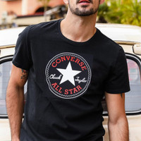 CONVERSE Tide brand round neck loose knit training sports short-sleeved T-shirt Black
