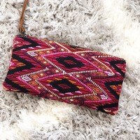 Black and Fuschia One-Of-A-Kind Wristlet