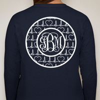 FREE Shipping- Monogrammed Stethescope T shirt -RN Monogram -Nurses Shirt - Long Sleeve- T-Shirt - Stethescope Monogram -RN Monogrammed Tee