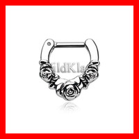Septum Clicker 16g Rose Garden Icon 14g Septum Ring Earring Cartilage Piercing Tragus Ring Helix Conch Nose Belly Nipple