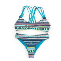 Reversible Criss-cross Back Multi-Color Blue Tribal Print  Cheeky Cut Bikini
