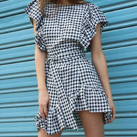 Cotton houndstooth short-sleeved dress word collar pleated ruffled zipper skirt women's clothing