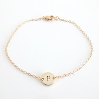 Personalised Dainty Bracelet, Initial Charm, Hand Stamped Monogram, Delicate Fine Gold Chain, Choose Your Letter