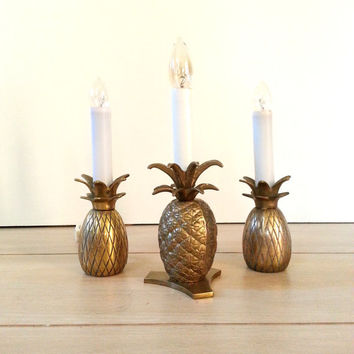 Set of Three Brass Pineapple Lamp ~ Electric Candlestick Candle Holder Nightstand/ Window Lamp