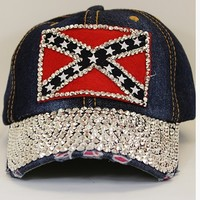Confederate Rhinestone Battle Flag Cap
