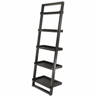 Winsome Woods Five Tier Fashionable Bailey Leaning Black Storage Shelf