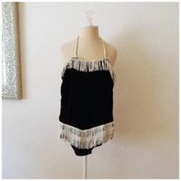 Vintage 60s Black White Velvet Fringe Bodysuit Leotard One Piece Small Medium