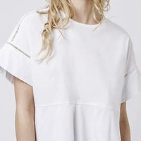 White Cut-Out Short Sleeve Top