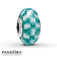 Pandora Glass Charm Teal Lattice Sterling Silver