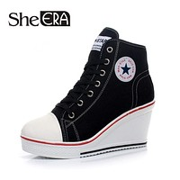 Wedge Sandals Casual Shoes Height Increasing Platform Canvas Shoes