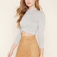 Mock Neck Twisted Crop Top