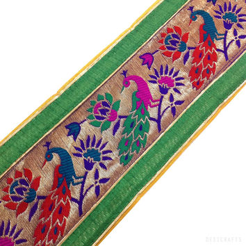 Green Jamdani Silk Border