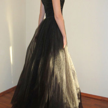 Black Maxi Evening Gown,Tulle Open Back Dress,İvory Long Prom Dress,Bridal Sequin Gown,Elegant Bridesmaid Floor lenght Dress,Low back Gown