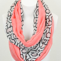 Hexagon Print Infinity Scarf (Coral) - Piace Boutique