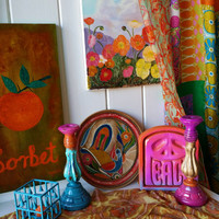 Boho Hippie Room Decor Bohemian Hippy Curated Collection Table Gypsy Wall candle holders vtg upcycled flower painting tabletop