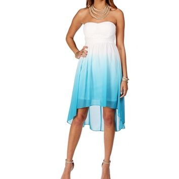 Sale-White/Turquoise Ombre Dress