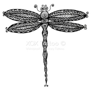 Paisley Dragonfly Waterproof Temporary Tattoos Lasts 3 to 4 days Choose Small, Medium or Large Sizes