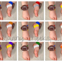 Football Baby Barefoot Sandals for Boys - PICK YOUR TEAM - Piggy Pals -  Boy Sandals - Baby Shower Gift - Toddler Shoes - Baby Shoes